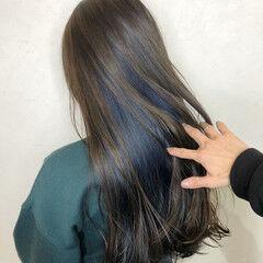 ネイビーブルー ストリート ネイビーアッシュ デニム ヘアスタイルや髪型の写真・画像