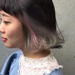 パステルカラー 外ハネ カラフルカラー ストリート ヘアスタイルや髪型の写真・画像