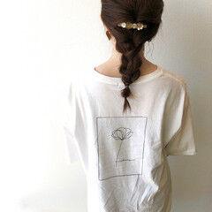ナチュラル ヘアアレンジ 三つ編み 簡単ヘアアレンジ ヘアスタイルや髪型の写真・画像