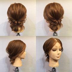 フェミニン ヘアアレンジ ロープ編み くるりんぱ ヘアスタイルや髪型の写真・画像
