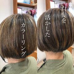 グレーカラー 刈り上げ女子 ショート ナチュラル ヘアスタイルや髪型の写真・画像