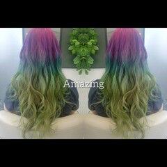 ロング カラーバター マニパニ 派手髪 ヘアスタイルや髪型の写真・画像