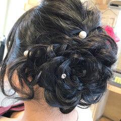 結婚式 エレガント 上品 花 ヘアスタイルや髪型の写真・画像