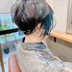 ストリート ネイビーブルー ショート インナーブルー ヘアスタイルや髪型の写真・画像