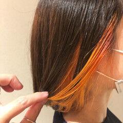 ストリート インナーカラー オレンジカラー オレンジブラウン ヘアスタイルや髪型の写真・画像