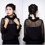 黒髪 モード ヘアアレンジ 三つ編み