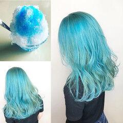 ブルー ナチュラル ブリーチカラー ブリーチ ヘアスタイルや髪型の写真・画像