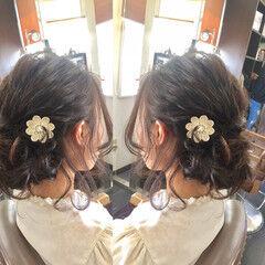 ヘアアレンジ ヘアメイク セミロング フェミニン ヘアスタイルや髪型の写真・画像