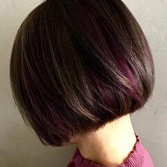 ハイライト ストリート パープル ボブ ヘアスタイルや髪型の写真・画像