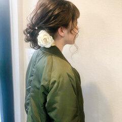 アップスタイル ヘアセット アップ セミロング ヘアスタイルや髪型の写真・画像