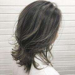 コントラストハイライト ナチュラル ミディアム ハイライト ヘアスタイルや髪型の写真・画像