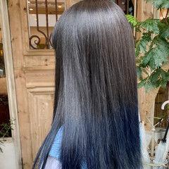 ブルーアッシュ ナチュラル ブルー セミロング ヘアスタイルや髪型の写真・画像