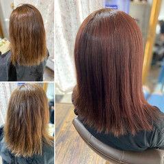コーラルピンク コーラル 大人ハイライト エレガント ヘアスタイルや髪型の写真・画像