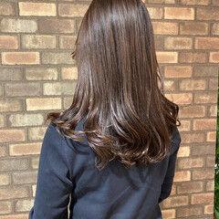 透明感 ピンクアッシュ ナチュラル セミロング ヘアスタイルや髪型の写真・画像
