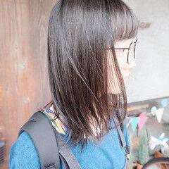 外国人風 ナチュラル ミディアム 黒髪 ヘアスタイルや髪型の写真・画像