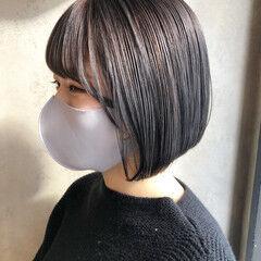 透明感カラー ショートヘア ボブ ミニボブ ヘアスタイルや髪型の写真・画像