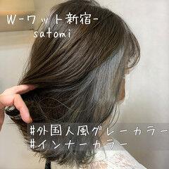 アッシュ ウェーブ グレージュ 大人かわいい ヘアスタイルや髪型の写真・画像