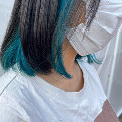 ワンレングス 裾カラー インナーカラー ボブ ヘアスタイルや髪型の写真・画像