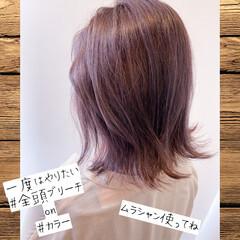 ラベンダー フェミニン ブリーチオンカラー ミディアム ヘアスタイルや髪型の写真・画像