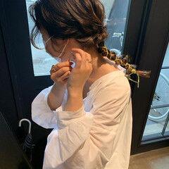 フェミニン セミロング リボンアレンジ ヘアスタイルや髪型の写真・画像