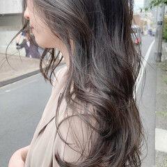 シアーベージュ グレージュ ナチュラル ロング ヘアスタイルや髪型の写真・画像