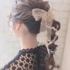 ロング ヘアアレンジ ガーリー ロープ編みアレンジヘア ヘアスタイルや髪型の写真・画像