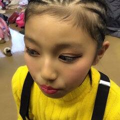 ナチュラル 子供 ミディアム コーンロウ ヘアスタイルや髪型の写真・画像