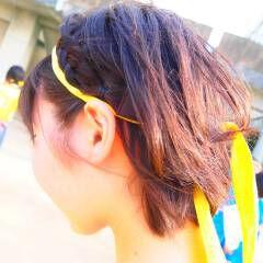 編み込み 学校 アンニュイ ボブ ヘアスタイルや髪型の写真・画像
