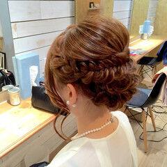 セミロング ヘアアレンジ 編み込み ヘアセット ヘアスタイルや髪型の写真・画像