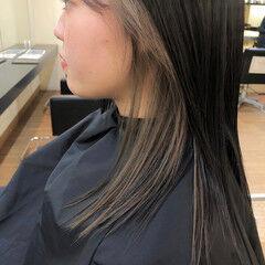 ナチュラル ミディアムヘアー インナーカラー ミディアム ヘアスタイルや髪型の写真・画像