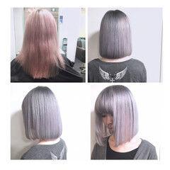 パールアクセ ハイトーン モード ボブ ヘアスタイルや髪型の写真・画像