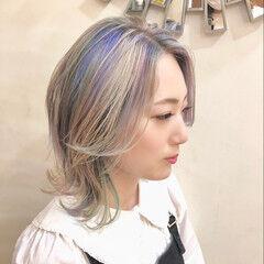 ユニコーンカラー ハイライト ボブ ストリート ヘアスタイルや髪型の写真・画像