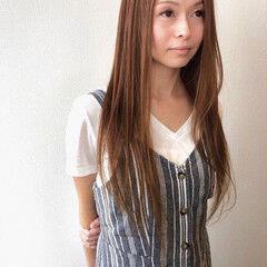 ベージュ 前髪なし ハイトーン ロング ヘアスタイルや髪型の写真・画像