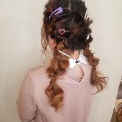 ツインテール 編み込み 結婚式ヘアアレンジ ガーリー ヘアスタイルや髪型の写真・画像