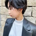 濡れ髪スタイル 黒髪ショート ハンサムショート ナチュラル