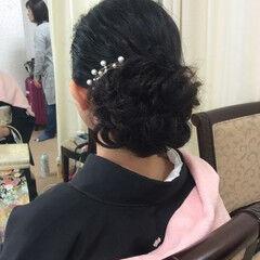 結婚式 色留袖 セミロング 黒留袖 ヘアスタイルや髪型の写真・画像