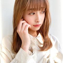 鎖骨ミディアム 透明感カラー 小顔ヘア レイヤーカット ヘアスタイルや髪型の写真・画像