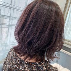 ラベンダーピンク トレンド ピンク ミディアム ヘアスタイルや髪型の写真・画像