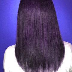 青紫 パープル 紫 ロング ヘアスタイルや髪型の写真・画像