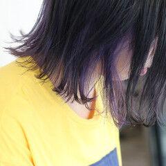 パープルカラー インナーカラーパープル ネイビーアッシュ ボブ ヘアスタイルや髪型の写真・画像
