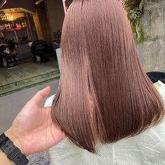 セミロング ベージュ 透明感カラー ナチュラル可愛い ヘアスタイルや髪型の写真・画像