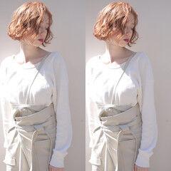 ナチュラル ボブ パーマ スパイラルパーマ ヘアスタイルや髪型の写真・画像