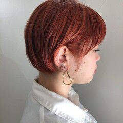 オレンジカラー ショートボブ ショート ショートヘア ヘアスタイルや髪型の写真・画像