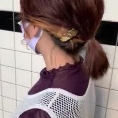 暖色 インナーカラー ヘアアクセサリー ナチュラル ヘアスタイルや髪型の写真・画像