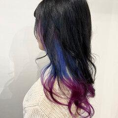 モード セミロング ユニコーンカラー ユニコーン ヘアスタイルや髪型の写真・画像