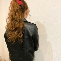 ロング ヘアセット リボン フェミニン ヘアスタイルや髪型の写真・画像