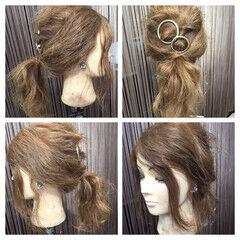 ヘアアレンジ 簡単ヘアアレンジ ポニーテール 後れ毛 ヘアスタイルや髪型の写真・画像