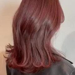 フェミニン 韓国風ヘアー 韓国ヘア レッドブラウン ヘアスタイルや髪型の写真・画像