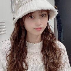 韓国ヘア ミルクティーベージュ ロング チョコレート ヘアスタイルや髪型の写真・画像