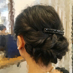 くるりんぱ ナチュラル セミロング 結婚式 ヘアスタイルや髪型の写真・画像